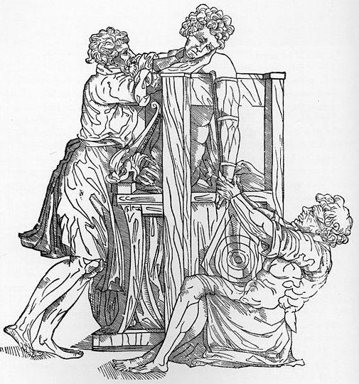 xilografia raffigurante il trattamento di una dislocazione della spalla con uno strumento ippocratico