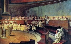Cicerone denuncia Catilina in Senato (Cesare Maccari, 1880 ca)